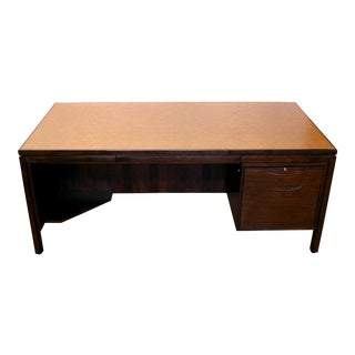 Mid Century Modern Jens Risom Leather Top Executive Desk For Sale