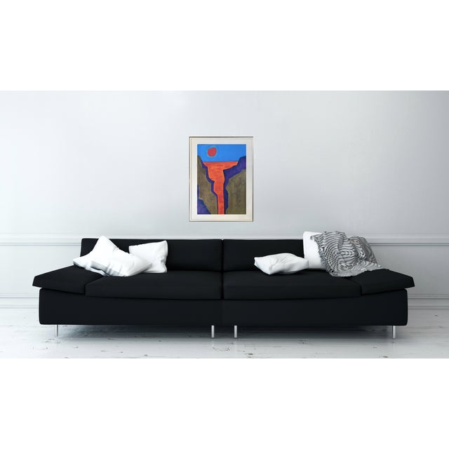 This is an original abstract landscape artwork on gallery paper. Graphic mid-century inspired painting. Add a dramatic...