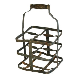 1930s French Metal Porte Bouteille 4-Bottle Wine Carrier