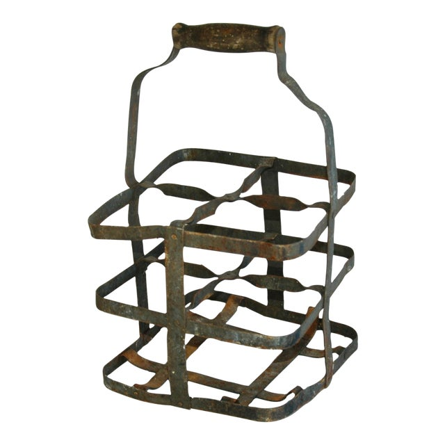 1930s french metal porte bouteille 4 bottle wine carrier for Porte french to english