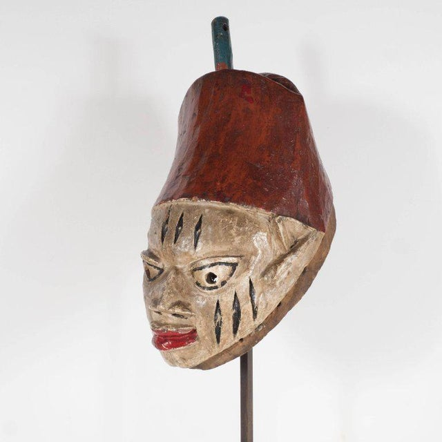 African Painted Head Crest Mask on Mount, Probably Yoruba, Nigeria, 20th Century For Sale - Image 3 of 10