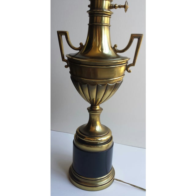 Stiffel Torchiere Lamp Brass & Hunter Green Trophy Lamp - Image 3 of 8