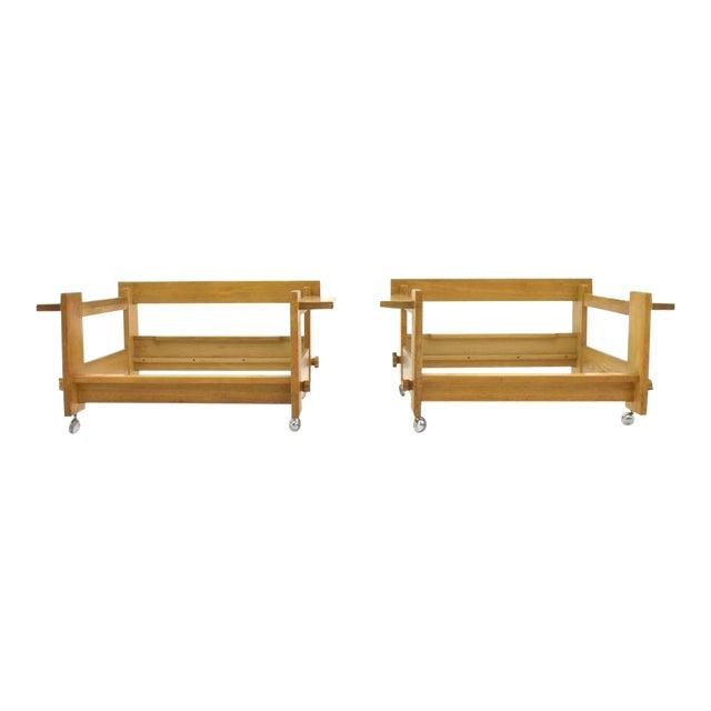 Yngve Ekström Lounge Chairs in Oak for Swedese, Sweden 1960s For Sale