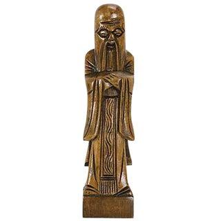 Mid-Century Confucius Wood Carving