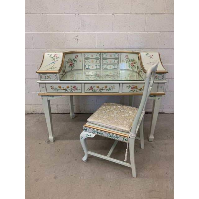 Jasper Cabinet Company Hand Painted Chinoiserie Desk Vanity & Chair For Sale - Image 12 of 13