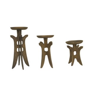 1960s Asian Style Candle Holders - Set of 3 For Sale