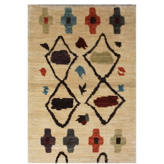Aara Rugs Inc. Moroccan Inspired Hand-Knotted Rug - 2′8″ × 4′7″ For Sale