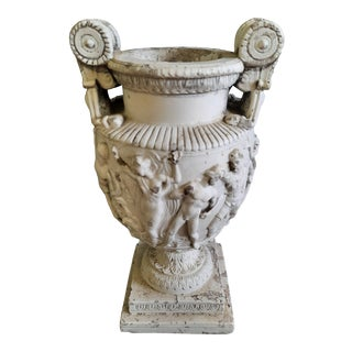 Vintage Neoclassical Figurative Relief Urn For Sale