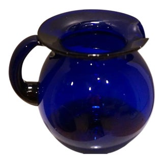 Vintage Blenko Hand Blown Cobalt Blue Glass Pitcher For Sale