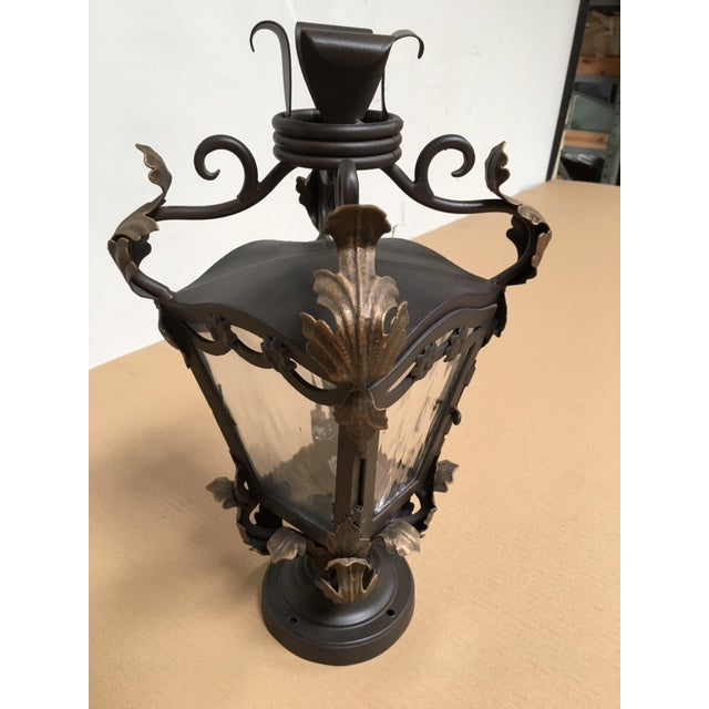 This is an Old World antique reproduction post mount. It is all hand forged wrought iron and would compliment any pilaster...