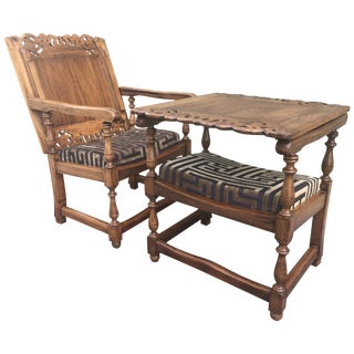 19th Century Convertible Pair of Monk's Chair or End Table,Foldable Armchair For Sale