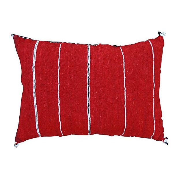 Handwoven Moroccan Berber pillow sham with an elaborate diamond pattern and an assortment of vibrant colors. Zipper...