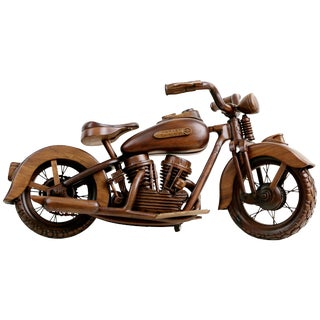 1948 El Panhead Harley Davidson Large-Scale Carved Wood Model With Display Case For Sale