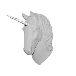"Wall Charmers ""The Luna"" Faux White + Silver Glitter Horn Magical Unicorn Head Wall Hanging For Sale"