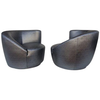 Pair of Swivel Chairs Lounge Chairs by Vladimir Kagan For Sale
