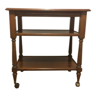 1990s Traditional Wood Tea/Bar Cart For Sale