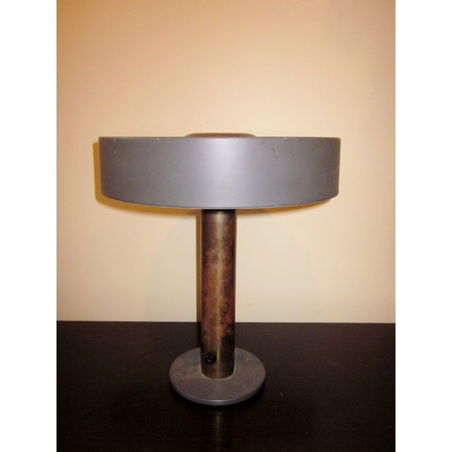 1950s Mid-Century Modern Matte Black and Gold Modernist Ufo Table or Desk Lamp For Sale - Image 11 of 11