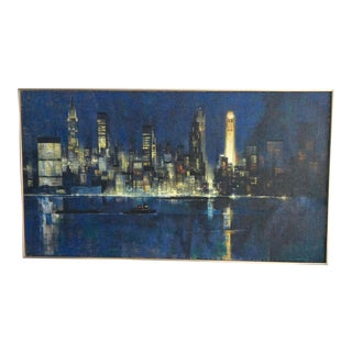 Mid-Century Modern New York Skyline in Evening Painting