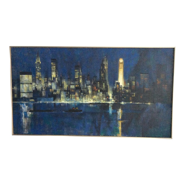 "Mid Century Modern ''New York Skyline"" Oil on Canvas by Dean Ellis For Sale"