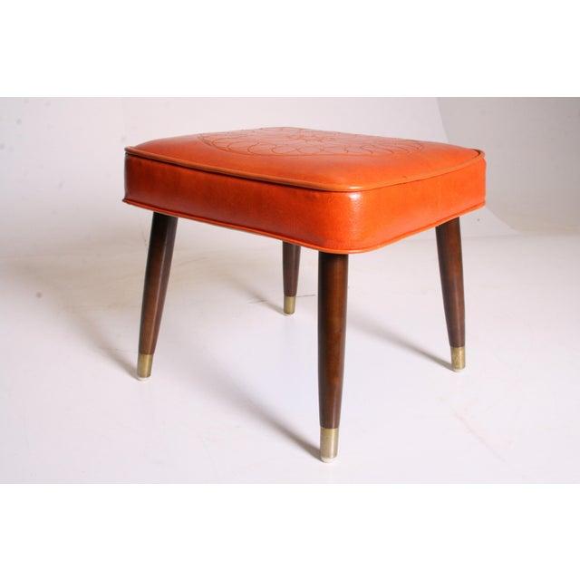 Mid Century Modern Orange Vinyl Foot Stool - Image 5 of 11