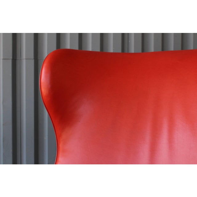 1940s Orange Leather Wingback Armchair For Sale In Los Angeles - Image 6 of 11
