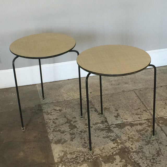 1950s Slender Tripod Lucite Detail Laminate Side Tables - a Pair For Sale In Los Angeles - Image 6 of 6