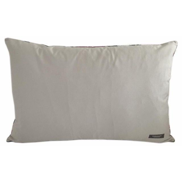 Silk velvet accent pillow with solid cotton fabric for reverse with zipper. Removable down feather insert is included....