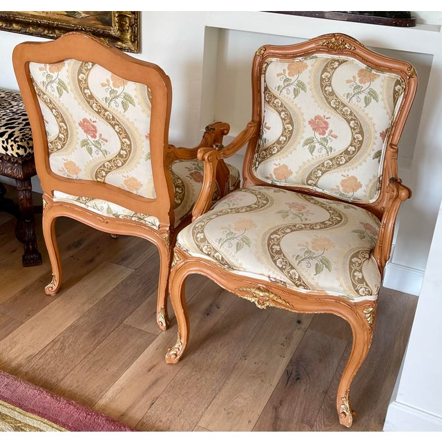 1990s Lewis Mittman French Louis XV Style Arm Chairs - a Pair For Sale - Image 5 of 8