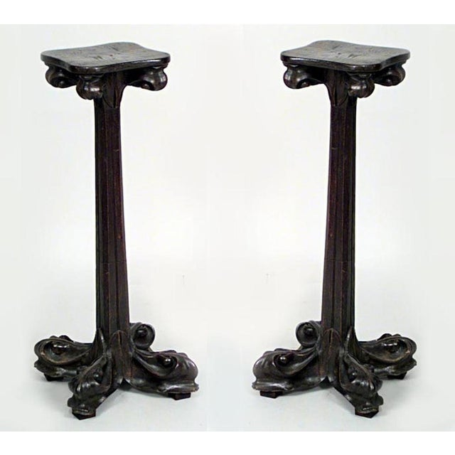 Art Nouveau Pair of French Art Nouveau Walnut Low Pedestals For Sale - Image 3 of 3