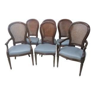 Louis XVI Caned Back Dining Chairs - Set of 6 For Sale