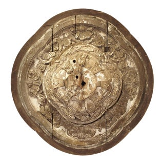 A Large 18th Century Parcel Paint Wooden Ceiling Medallion from Spain For Sale