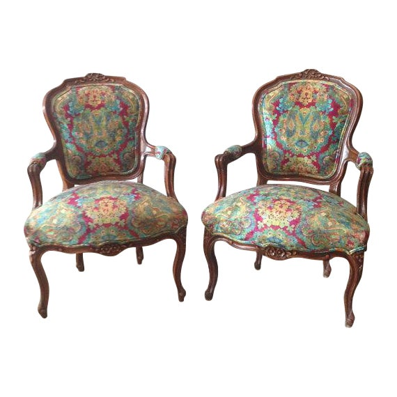 Multicolor Louis XVI Chairs - A Pair - Image 1 of 6