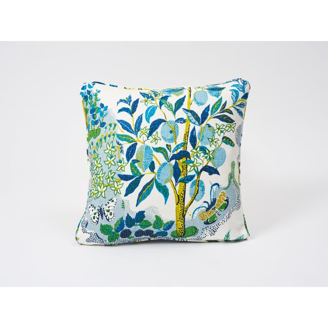 Schumacher Double-Sided Pillow in Citrus Garden Pool Blue Linen Print For Sale In New York - Image 6 of 8