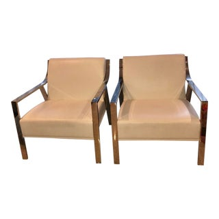 Retro White Leather Club Chairs - A Pair For Sale