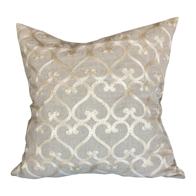 Embriordered Linen Geometric Pillow - Image 1 of 5
