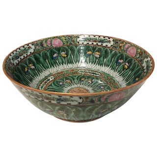 Famille Rose Cabbage Leaf and Butterfly Bowl For Sale