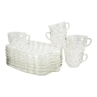 Midcentury Glass Thumbprint Snack Trays & Cups – Set of 8 - Set of 16 For Sale