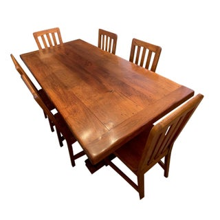 Solid Ironwood Dining Table With Six Chairs For Sale