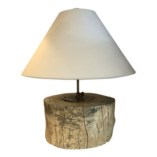 Contemporary Silver Leaf Tree Stump Table Lamp For Sale