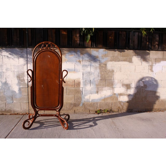 Mid Century Bent Rattan Cheval Mirror - Image 7 of 11