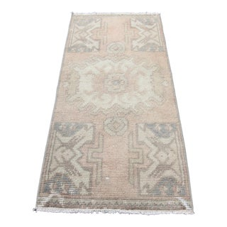 Turkish Home Decor Pastel Color Handmade Rug - 37'' X 17'' Inches
