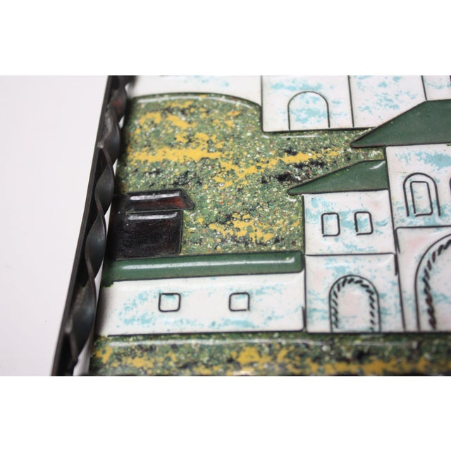Vintage Russian Enamel on Copper Cityscape For Sale - Image 9 of 13