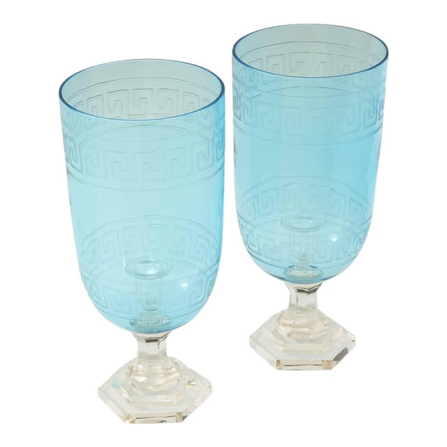Pair of Blue Glass Hurricanes For Sale