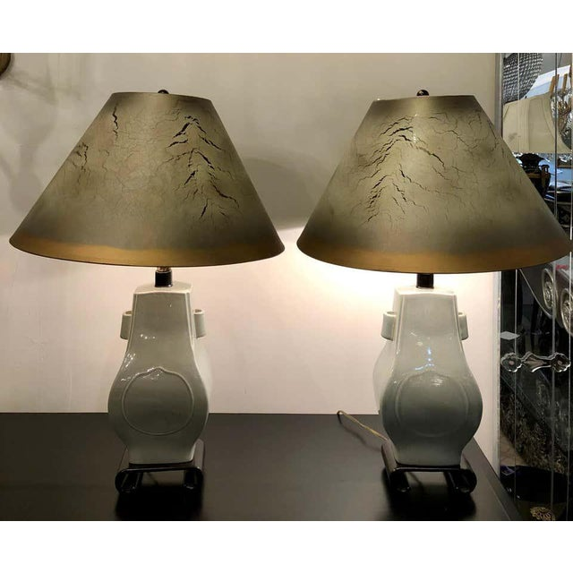 Chinese Porcelain Crackle Glaze Table Lamps Chinese Inspired With Custom Shades - a Pair For Sale - Image 3 of 13