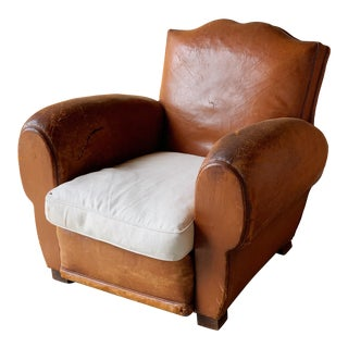 French Leather Club Chair For Sale