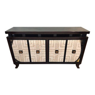 Mahogany Mirrored Front Art Deco Style Credenza or Buffet For Sale