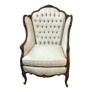 Antique French Tufted Back Chair For Sale
