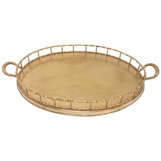 Hollywood Regency Faux Bamboo Oval Brass Serving Tray For Sale