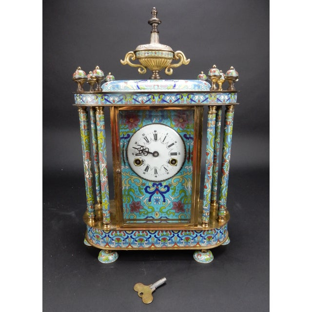 "Chinese Export Bronze and Cloisonné Mantle Clock Excellent Working Condition 19"" For Sale - Image 11 of 13"