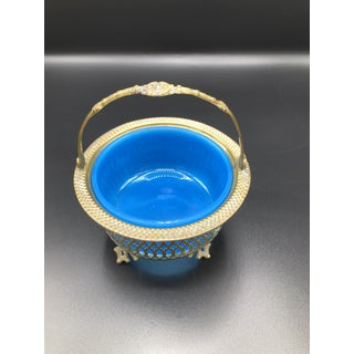 19th Century Antique French Blue Opaline Glass Brass Basket Preview